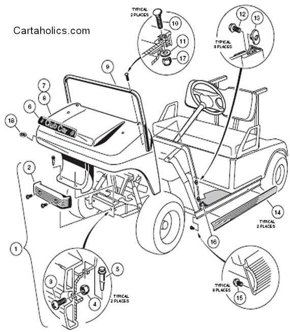 clubcar front cowl club car ds body diagrams cartaholics golf cart forum 1989 club car wiring diagram at edmiracle.co