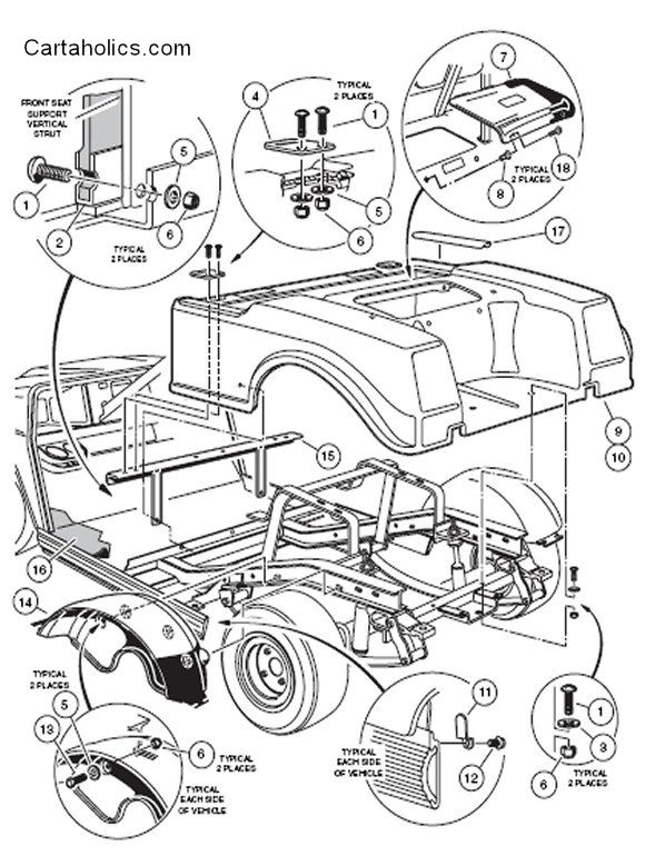 clubcar rear body wiring diagram for club car golf cart the wiring diagram 93 club car wiring diagram at soozxer.org