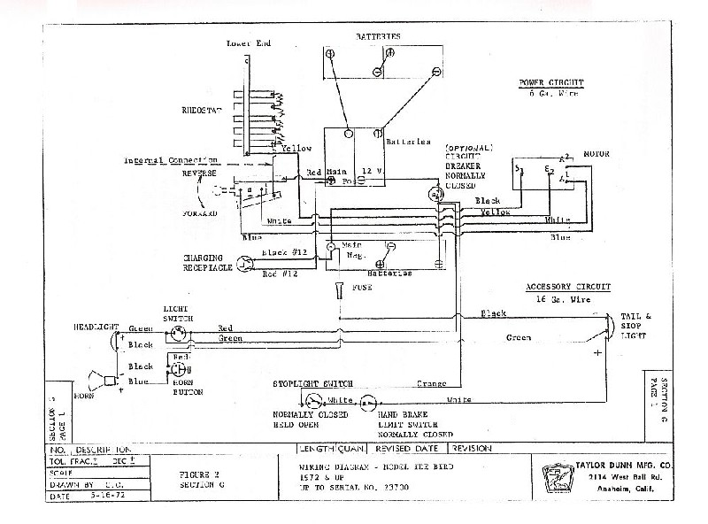 taylor dunn tee bird wiring diagram cartaholics golf cart forum rh cartaholics com Ezgo Golf Cart Wiring Diagram Taylor Dunn Wiring Diagram Model B