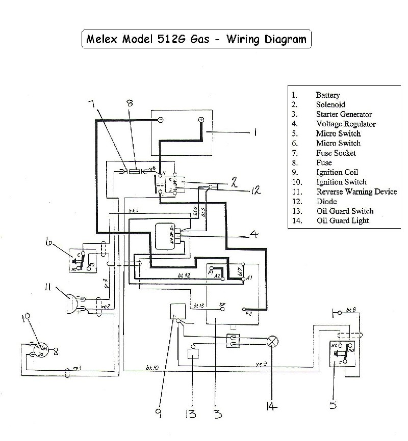 melex 512g golf cart wiring diagram - gas