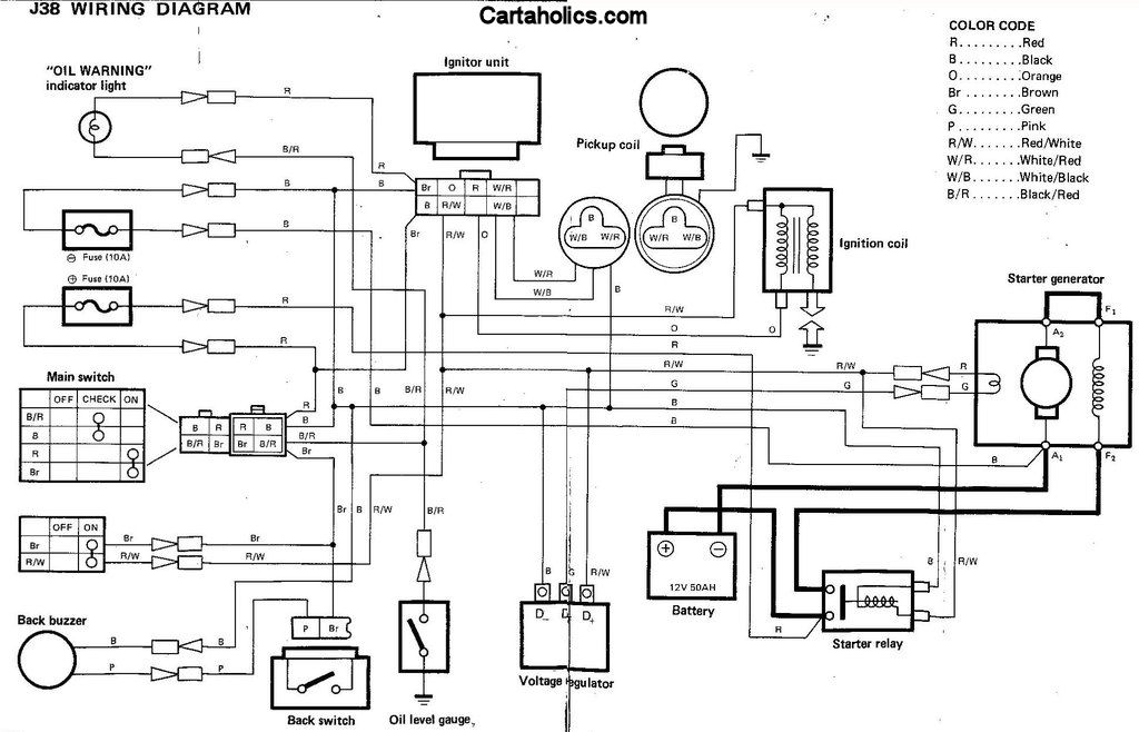 Yamaha G2 J38 Golf Cart Wiring Diagram - Gas | Cartaholics Golf Cart ...